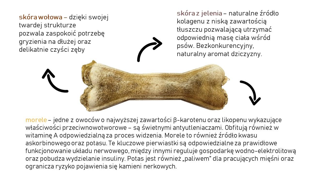 Kość do żucia z jeleniem i morelą 13,5 cm