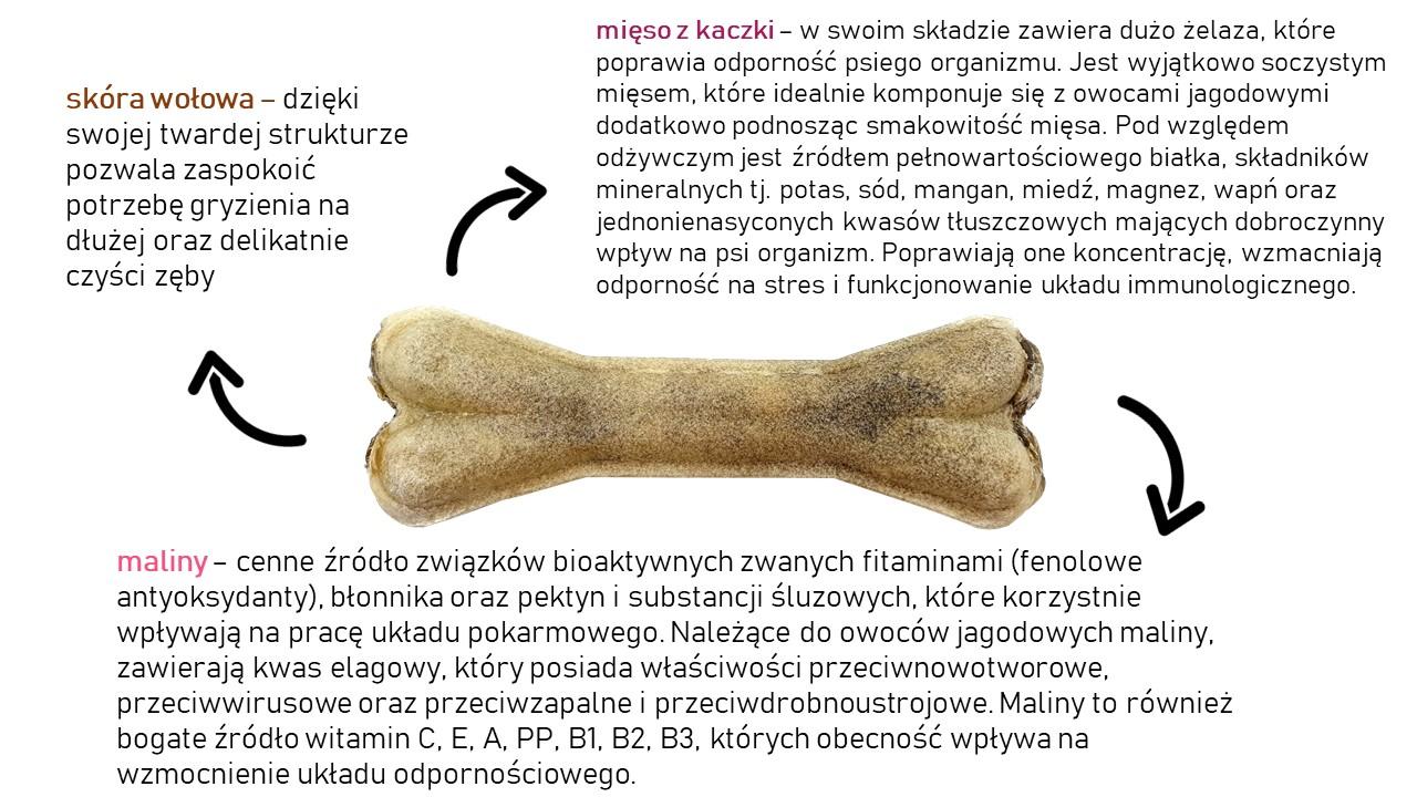 Kość do żucia z kaczką i malinami 13,5 cm