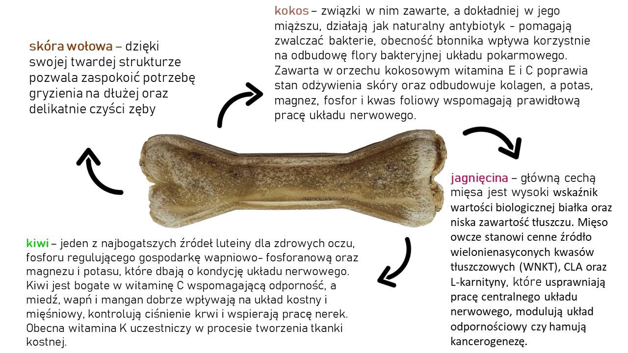 Kość do żucia z kiwi i kokosem 13,5 cm